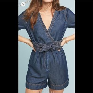 Anthropologie Pilcro Belted Denim Romper